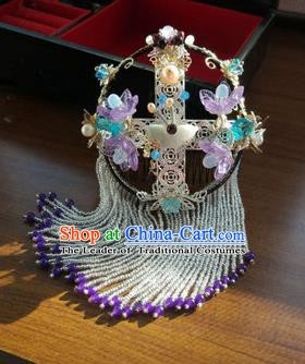 Chinese Handmade Ancient Peking Opera Hair Accessories Classical Hanfu Headwear Purple Hairpins for Women