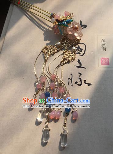 Chinese Handmade Ancient Hair Accessories Classical Hanfu Headwear Pink Beads Tassel Hairpins for Women