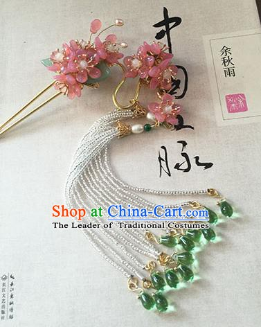 Chinese Handmade Ancient Pink Flowers Hairpins Hair Accessories Classical Hanfu Tassel Step Shake for Women