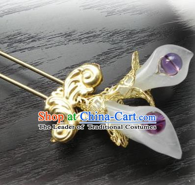 Chinese Handmade Ancient Jade Hairpins Hair Accessories Classical Hanfu Hair Clip for Women