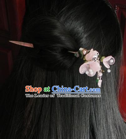 Chinese Handmade Ancient Hanfu Pink Peach Blossom Hairpins Hair Accessories Classical Hair Clip for Women