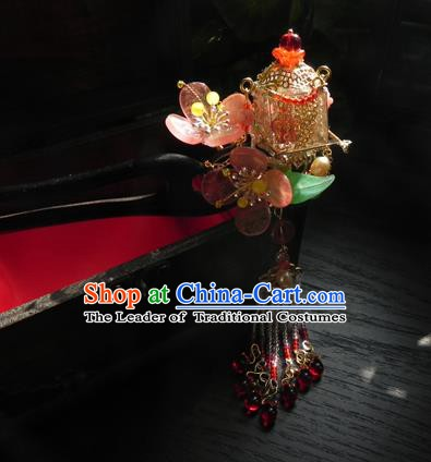 Chinese Handmade Ancient Hanfu Ebony Hairpins Hair Accessories Classical Flowers Hair Clip for Women