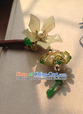 Chinese Handmade Ancient Hanfu Hairpins Hair Accessories Classical Green Flowers Hair Clip for Women