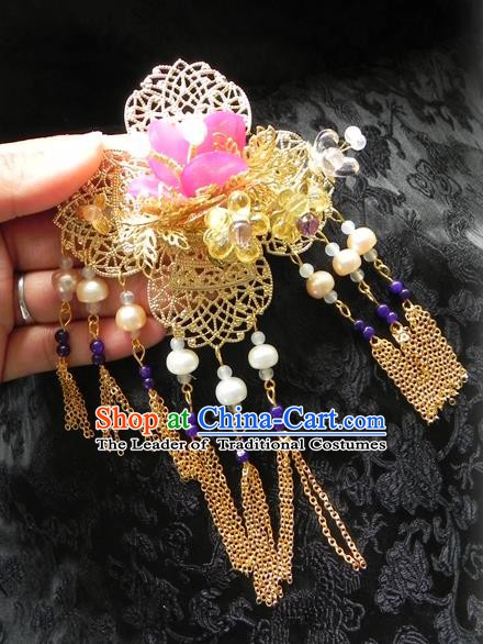 Chinese Handmade Ancient Golden Hair Stick Hair Accessories Classical Hanfu Tassel Hairpins for Women