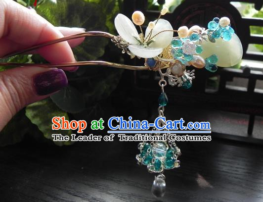 Chinese Handmade Ancient Green Beads Tassel Hairpins Hair Clip Classical Hanfu Hair Accessories for Women