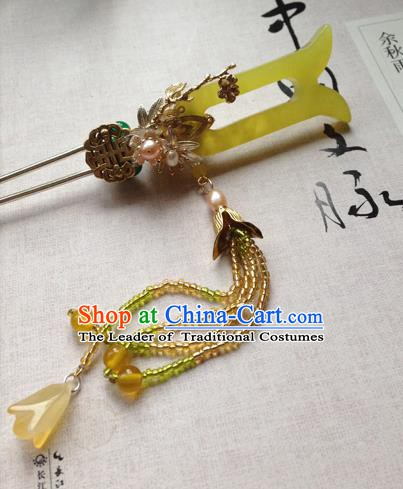 Chinese Handmade Ancient Hair Accessories Classical Hanfu Yellow Jade Hairpins for Women