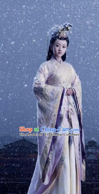 Chinese Ancient Empress Hanfu Dress Northern and Southern Dynasties Qi Kingdom Queen Xiao Replica Costume for Women
