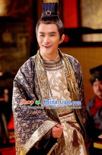 Chinese Ancient  Five Dynasties and Ten Kingdoms Shu Kingdom Prince Meng Qiyun Replica Costume for Men