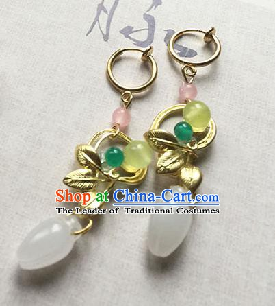 Chinese Handmade Ancient Accessories Jade Eardrop Hanfu Earrings for Women