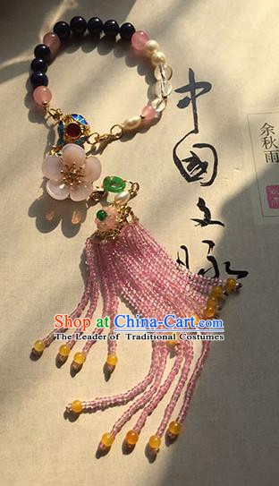 Chinese Handmade Ancient Accessories Chain Bracelet Pink Beads Tassel Bracelets for Women