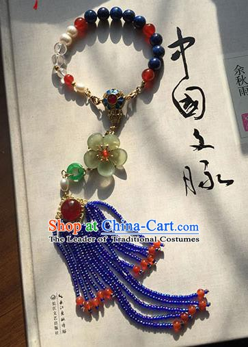 Chinese Handmade Ancient Accessories Chain Bracelet Blue Beads Tassel Bracelets for Women