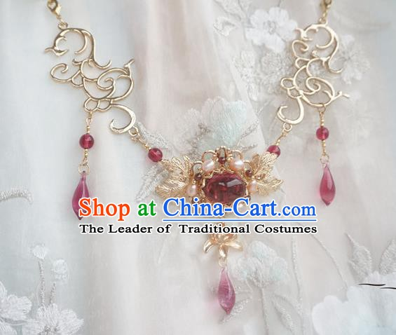 Chinese Handmade Ancient Palace Necklace Accessories Hanfu Crystal Necklet for Women
