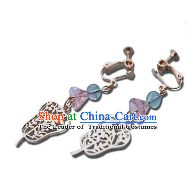 Chinese Handmade Ancient Jewelry Accessories Eardrop Hanfu Palm-leaf Fan Earrings for Women