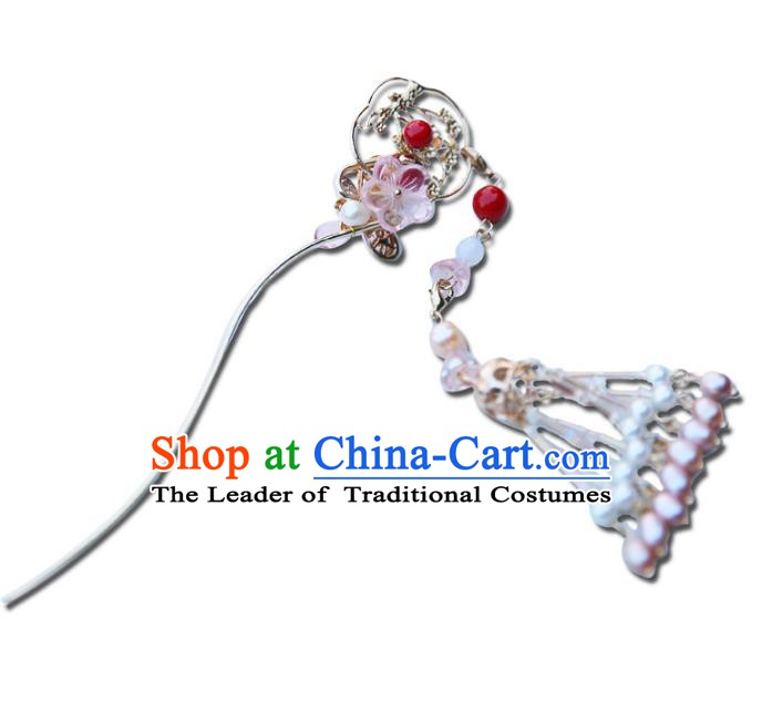 Chinese Ancient Handmade Hanfu Pearls Tassel Step Shake Hairpins Palace Lady Hair Accessories for Women