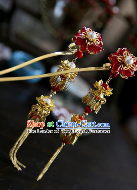 Chinese Ancient Handmade Hanfu Golden Tassel Step Shake Hairpins Palace Lady Hair Accessories for Women