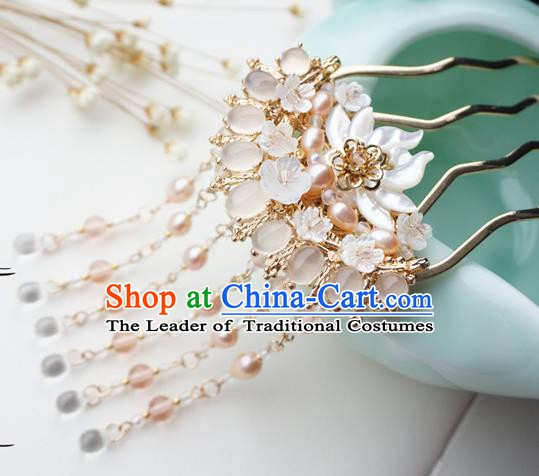 Chinese Ancient Handmade Hanfu Pearls Tassel Hairpins Step Shake Hair Accessories for Women
