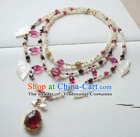 Chinese Handmade Ancient Jewelry Accessories Crystal Necklace Hanfu Shell Necklet for Women