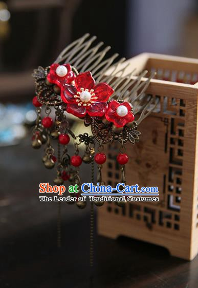 Chinese Ancient Handmade Hanfu Classical Hairpins Red Flowers Hair Comb Palace Lady Hair Accessories for Women
