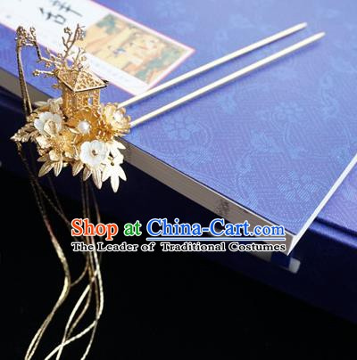 Chinese Ancient Hanfu Handmade Golden Tassel Step Shake Hairpins Hair Accessories for Women