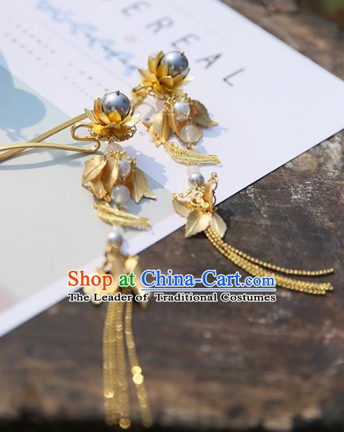 Chinese Ancient Handmade Hanfu Hairpins Palace Lady Golden Tassel Step Shake Hair Accessories for Women