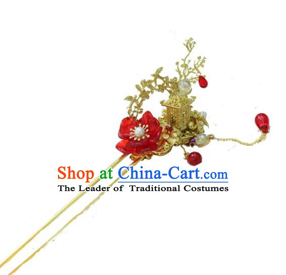 Chinese Ancient Handmade Hanfu Hairpins Palace Lady Red Flower Hair Clip Hair Accessories for Women