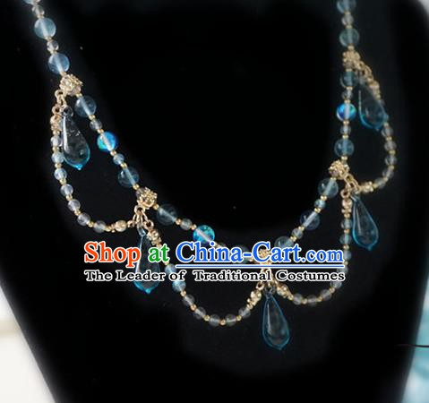Chinese Handmade Ancient Jewelry Accessories Blue Crystal Necklace Hanfu Necklet for Women