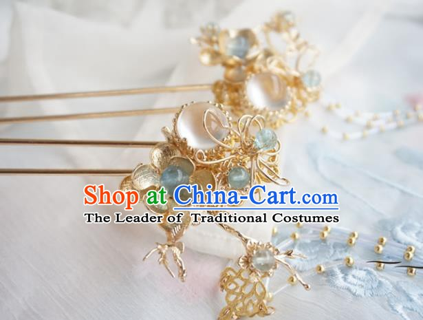 Chinese Ancient Handmade Hanfu Golden Flowers Hairpins Hair Accessories Tassel Step Shake for Women