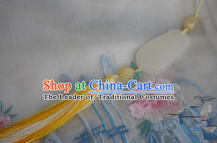 Chinese Handmade Ancient Palace Waist Accessories Hanfu Yellow Tassel Jade Pendant for Women