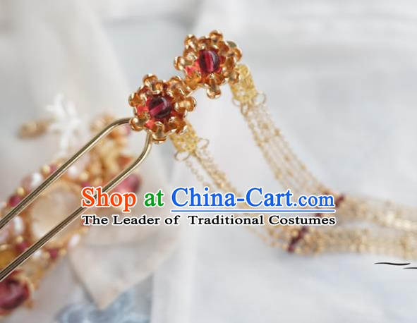Chinese Ancient Handmade Tassel Step Shake Hanfu Hairpins Hair Accessories for Women