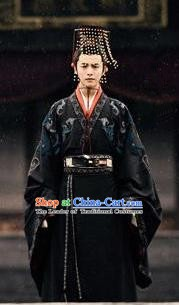 Chinese Ancient Eastern Han Dynasty Emperor Liu Xie Imperial Robe Historical Costume for Men