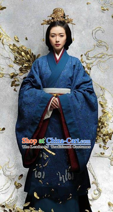 Chinese Ancient Han Dynasty Emperor Xian Empress Fu Shou Hanfu Dress Replica Costume for Women