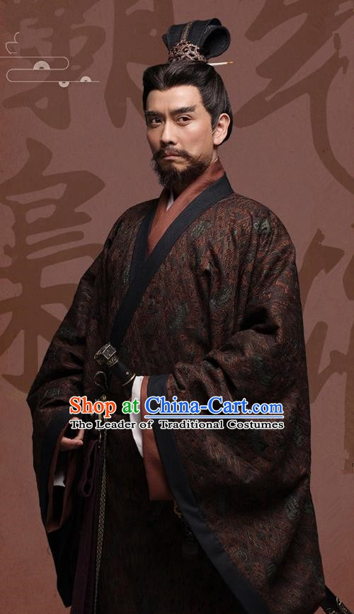 Chinese Ancient Three Kingdoms Period Wei State King Cao Cao Historical Costume for Men