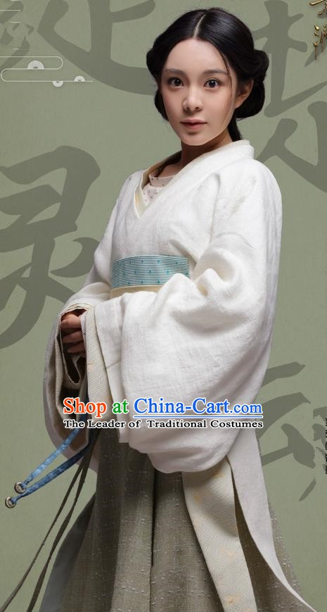 Chinese Ancient Eastern Han Dynasty Imperial Consort Lv Hanfu Dress Replica Costume for Women