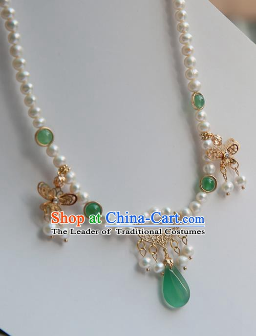 Chinese Handmade Ancient Jewelry Accessories Pearls Hanfu Necklace for Women