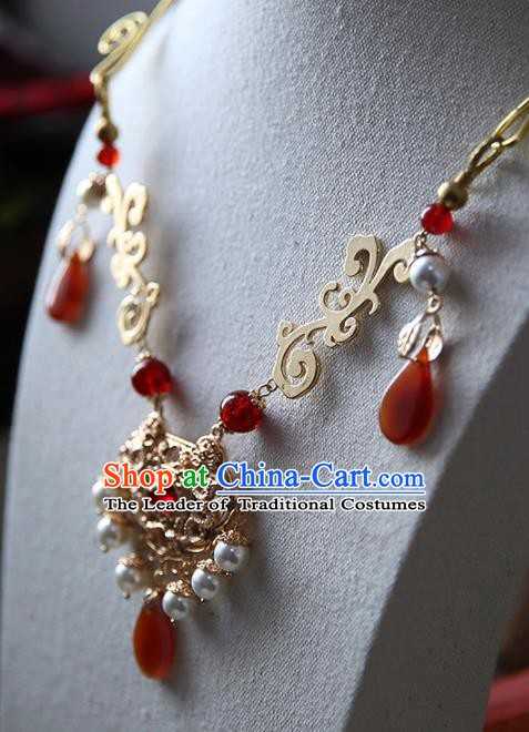 Chinese Handmade Ancient Jewelry Accessories Conophytum Pucillum Hanfu Necklace for Women
