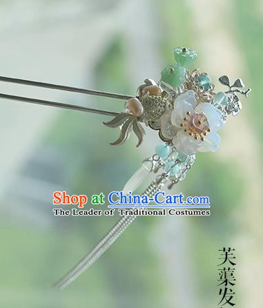 Chinese Ancient Hanfu Handmade Goldfish Lotus Hairpins Palace Lady Hair Clip Hair Accessories for Women