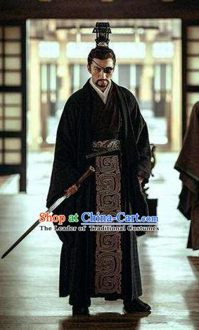Ancient Chinese Three Kingdoms Period Wei State Swordsman Litterateur Ding Yi Historical Costume for Men