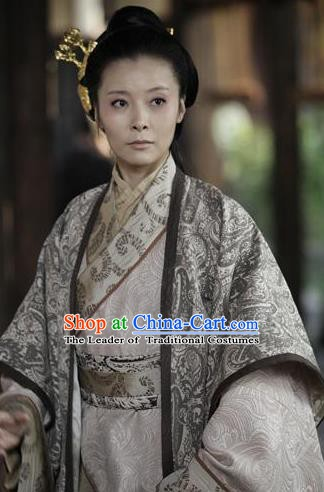 Chinese Ancient Han Dynasty Imperial Empress Lv Zhi Hanfu Dress Replica Costume for Women