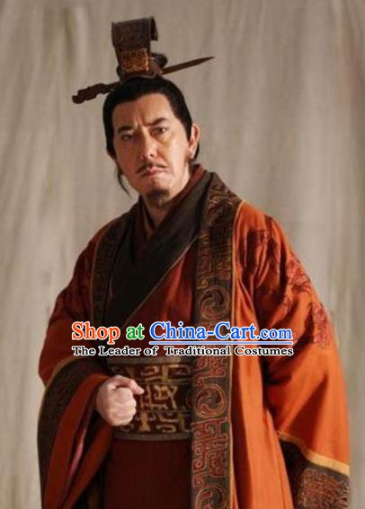 Traditional Chinese Ancient Emperor Gaozu of Han Dynasty Liu Bang Historical Costume for Men