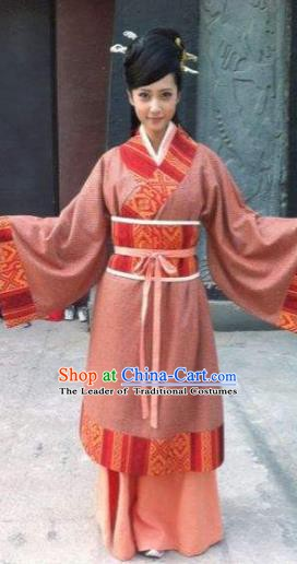 Chinese Ancient Han Dynasty Imperial Concubine Hanfu Dress Embroidered Replica Costume for Women