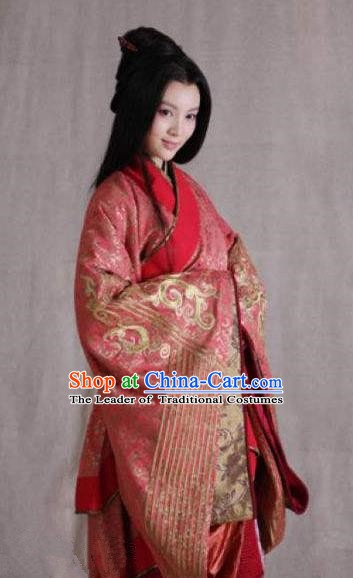 Chinese Ancient Western Chu Imperial Concubine Yuji Hanfu Dress Embroidered Replica Costume for Women