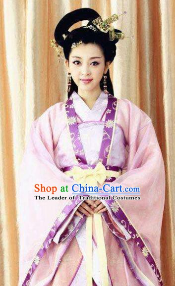 Chinese Ancient Three Kingdoms Period Wei State Imperial Concubine Guo Embroidered Hanfu Dress Replica Costume for Women