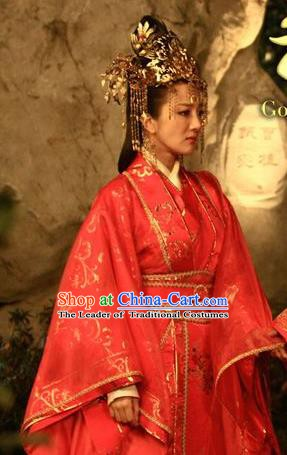 Chinese Ancient Three Kingdoms Period Wei State Queen Zhen Mi Hanfu Dress Wedding Replica Costume for Women