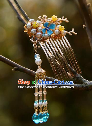 Chinese Ancient Hanfu Handmade Hairpins Tassel Step Shake Hair Comb Hair Accessories for Women