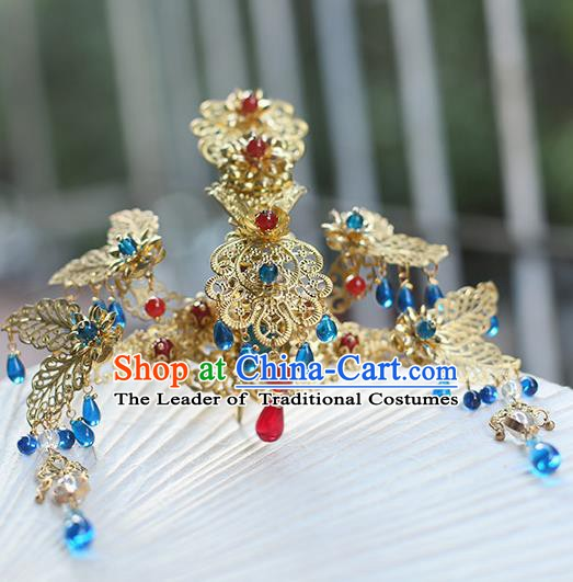 Chinese Ancient Hanfu Handmade Hairpins Blue Beads Tassel Phoenix Coronet Hair Accessories for Women