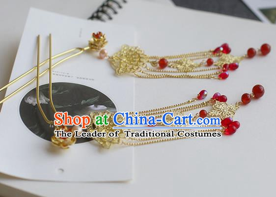 Chinese Ancient Hanfu Handmade Hairpins Tassel Step Shake Hair Accessories for Women