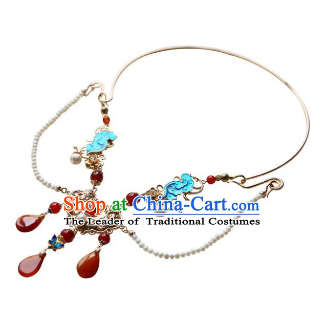 Ancient Chinese Handmade Hanfu Necklace Accessories Pearls Necklet for Women