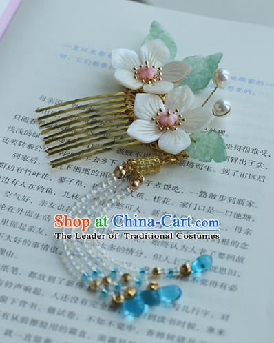 Chinese Ancient Hanfu Handmade Hairpins Flowers Tassel Hair Comb Hair Accessories for Women