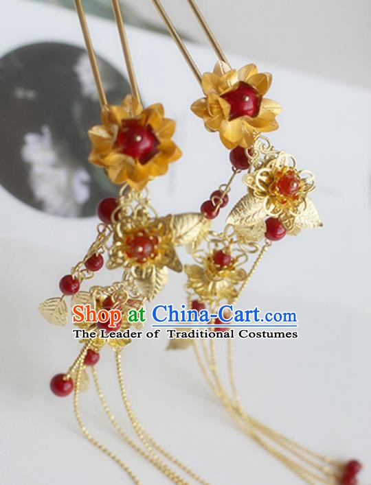 Chinese Ancient Hanfu Handmade Hairpins Golden Tassel Step Shake Hair Accessories for Women