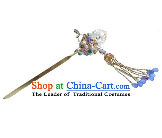 Chinese Ancient Hanfu Handmade Tassel Lotus Hairpins Step Shake Hair Accessories for Women